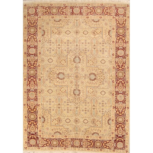 Enigma Tabriz Persian Hand-Knotted Wool Red/Yellow Area Rug by Bloomsbury Market