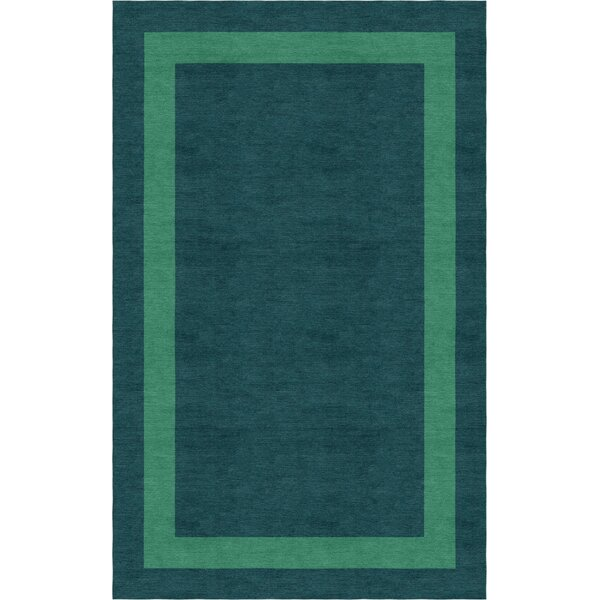 Enlow Border Hand-Tufted Wool Green/Teal Area Rug by Red Barrel Studio