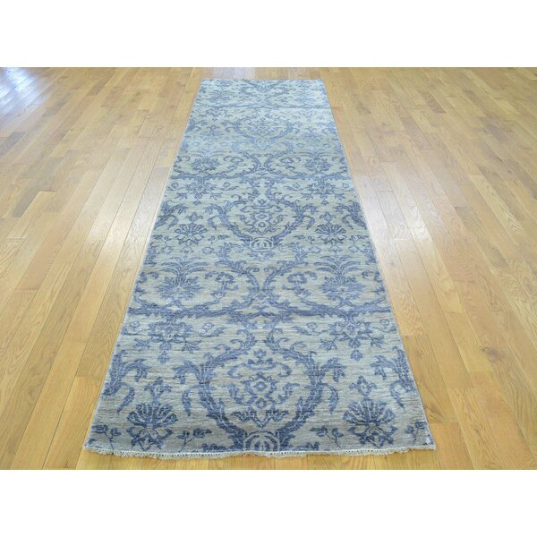 One-of-a-Kind Bean Damask Handwoven Blue Wool/Silk Area Rug by Isabelline