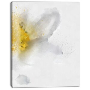 'White Yellow Flower Sketch on White' Painting Print on Wrapped Canvas by Design Art
