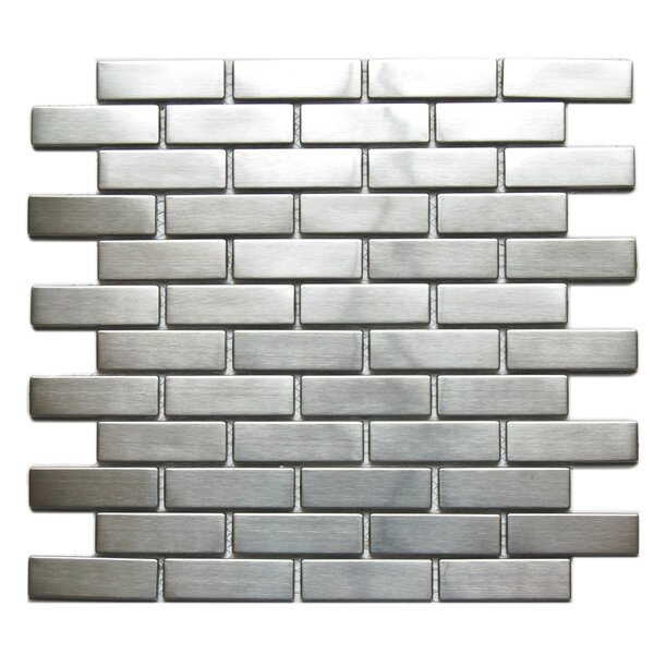 0.9 x 2.6 Metal Mosaic Tile in Silver Snow by Eden Mosaic Tile