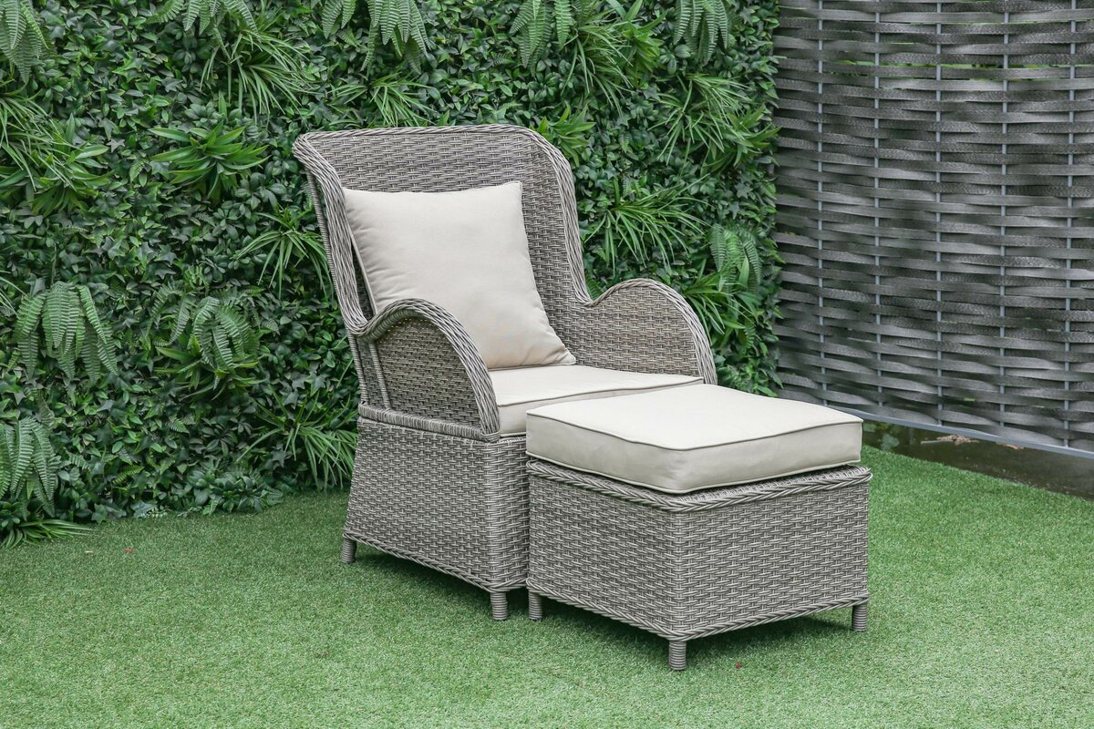 one allium way silke outdoor patio chair and ottoman with cushions reviews. Black Bedroom Furniture Sets. Home Design Ideas