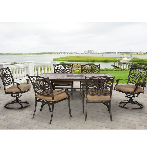 Carlee 7 Piece Dining Set with Cushion by Fleur De Lis Living