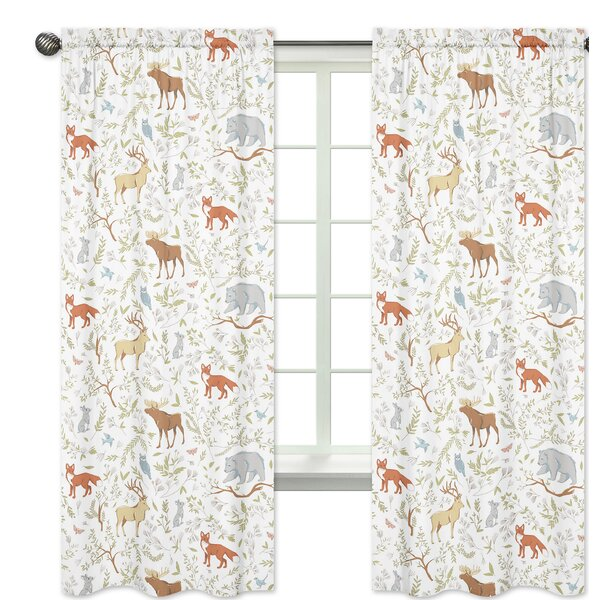 Woodland Toile Wildlife Semi-Sheer Rod pocket Curtain Panels (Set of 2) by Sweet Jojo Designs