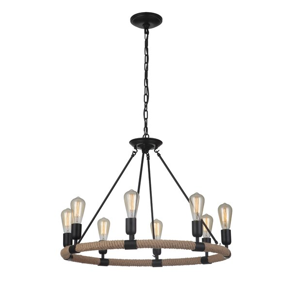 Romo 8 - Light Unique / Statement Wagon Wheel Chandelier with Rope Accents by Gracie Oaks Gracie Oaks
