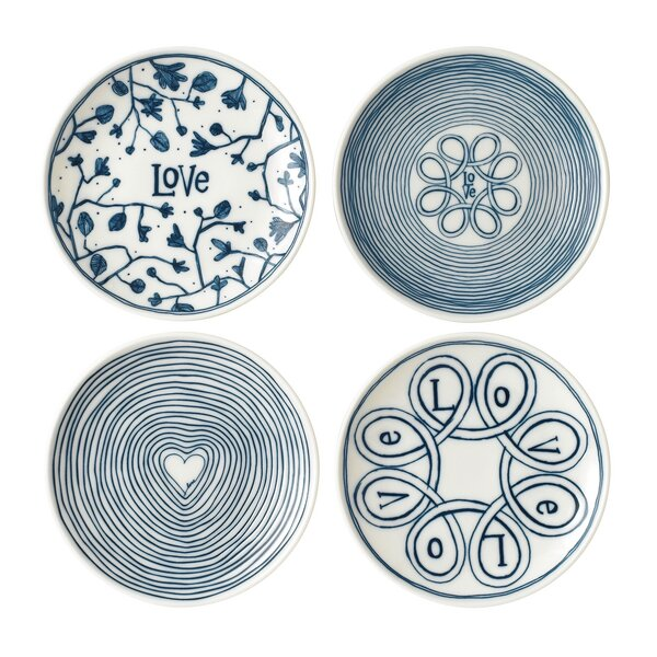 Love 4 Piece Bread and Butter Plate Set by ED Elle