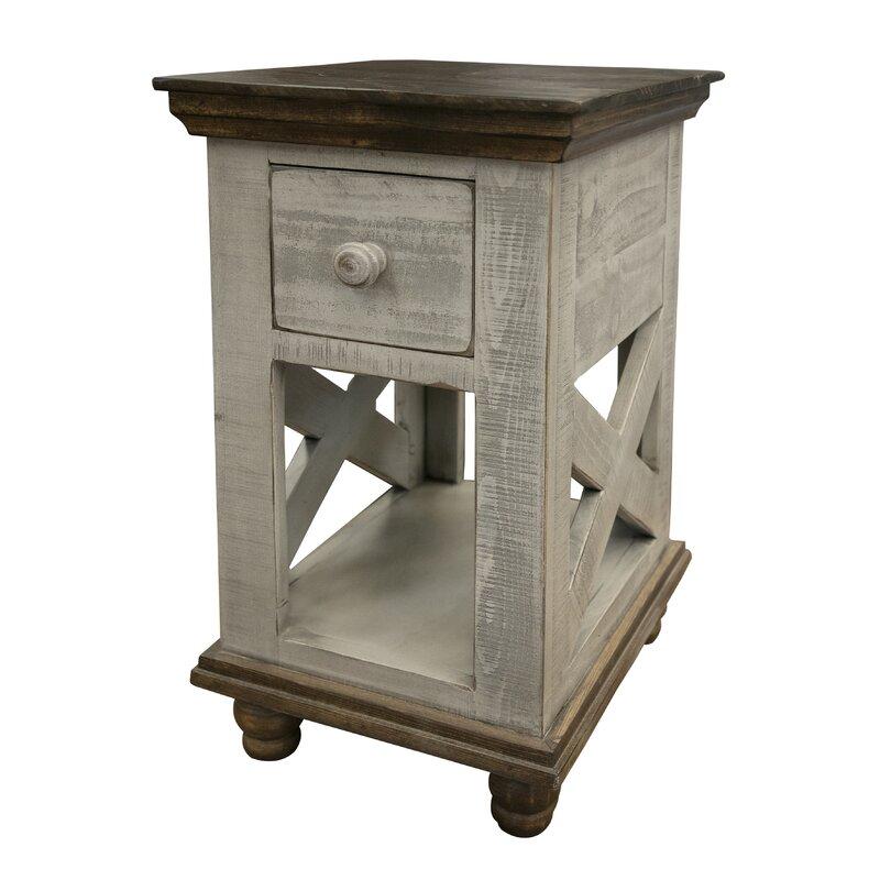 Industrial Grey 1 Door 1 Drawer Bedside Lamp Table Side End Storage Cabinet Unit