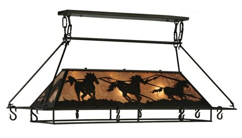 Greenbriar Oak Wild Horses Pot Rack by Meyda Tiffany
