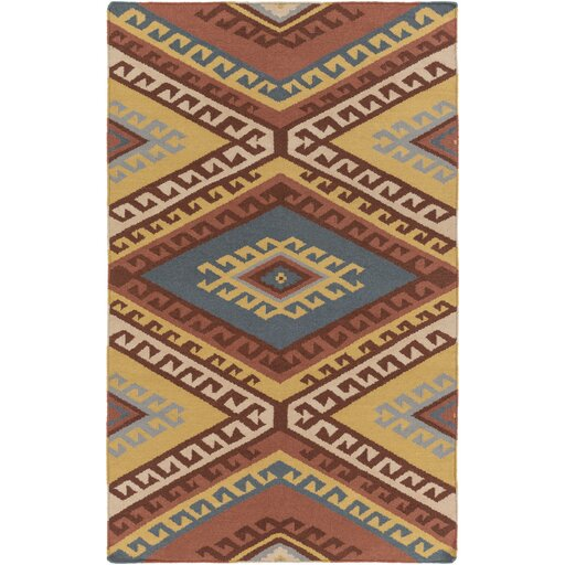 Evelyn Hand-Woven Red/Beige Area Rug by Millwood Pines