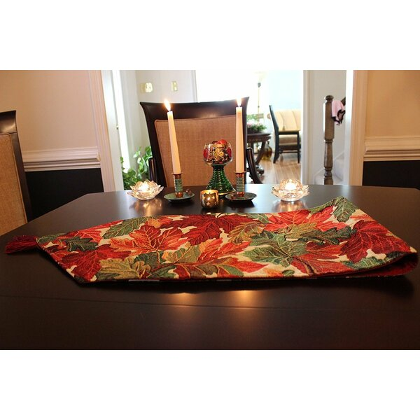 Tapestry Warm Colorful Thanksgiving Leaves Fall Foliage Table Runner by Tache Home Fashion