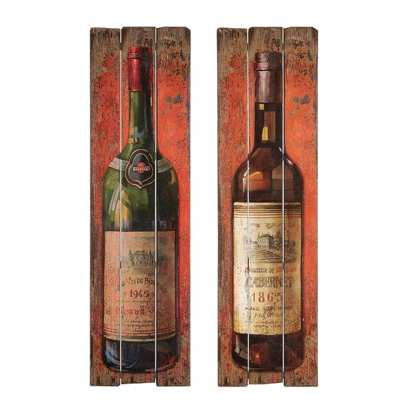 Wine Bottle Wall Plaque Set (Set of 2) by Fleur De Lis Living