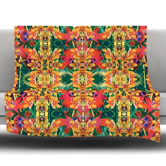 Tropical Floral by Dawid Roc Fleece Throw Blanket by East Urban Home