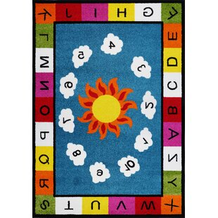 Compare prices Kindig Alphabets Numbers Blue/Yellow Area Rug By Zoomie Kids