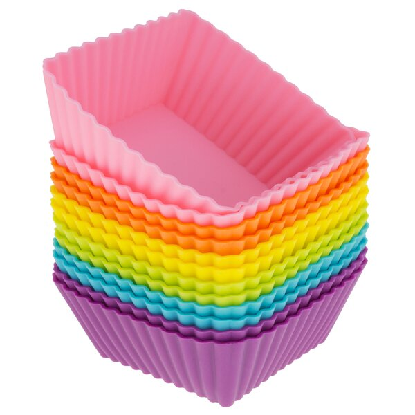 Silicone Square Reusable Cupcake And Muffin Baking Cup Set Of 12 By Freshware.