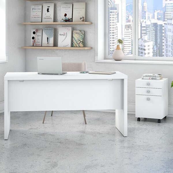 Echo Bow Front 2 Piece Desk Office Suite with Mobile File Cabinet by Kathy Ireland Office by Bush