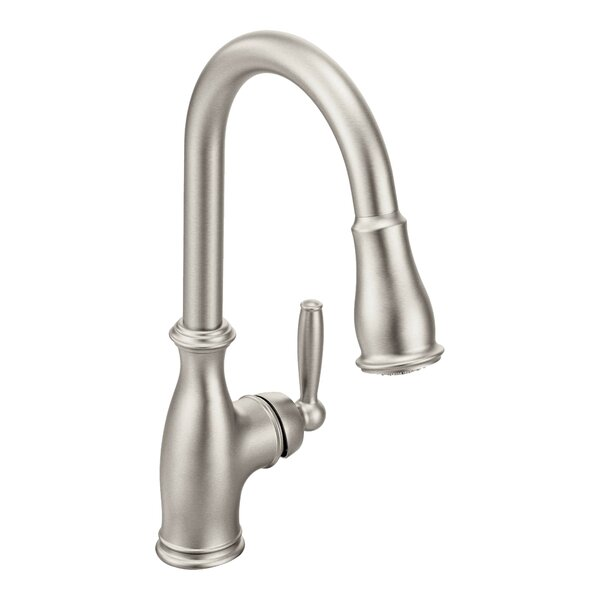 Brantford Pull Down Touch Single Handle Kitchen Faucet with Reflex and Power Boost by Moen