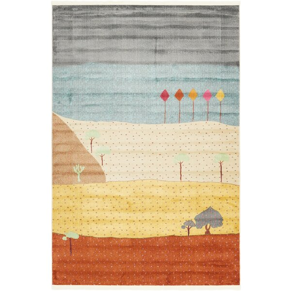 Rolling Hills Estates Gray/Yellow/Red Area Rug by Bloomsbury Market