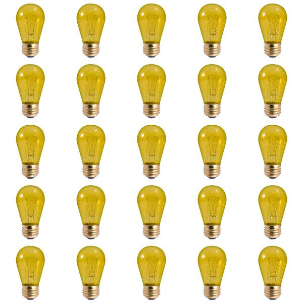 11W E26 Dimmable Incandescent Light Bulb Transparent Yellow (Set of 25) by Bulbrite Industries
