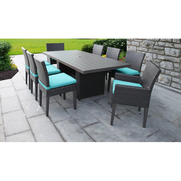 Barbados 9 Piece Outdoor Patio Dining Set with Cushions by TK Classics