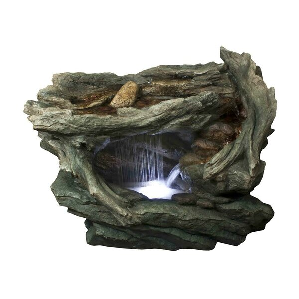 Fiberglass/Resin Woodland Grotto with Stones Spring Outdoor Water Fountain with LED Light by Northlight Seasonal