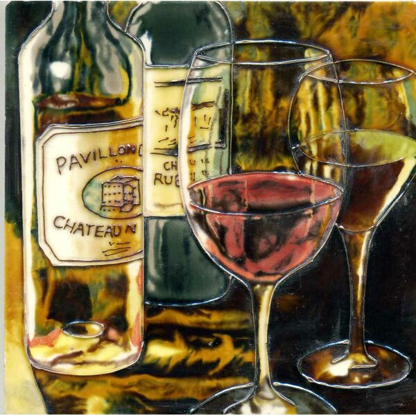 Wine and Glasses in Brown Tile Wall Decor by Continental Art Center