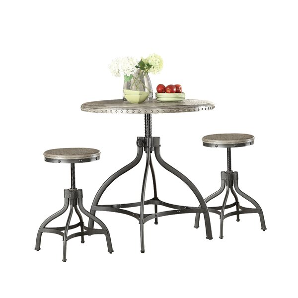 Kason Fatima 3 Piece Adjustable Counter Height Set with Stool Seating by Williston Forge