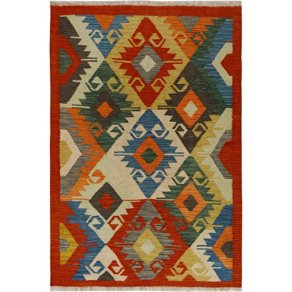 One-of-a-Kind Aalborg Kilim Hand-Woven Red/Blue Area Rug by Isabelline