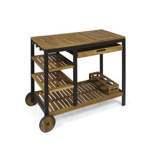 Beatriz Indoor Wood and Iron Bar Cart
