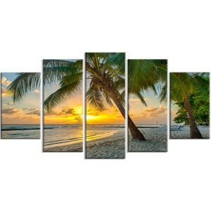 'Beach in Caribbean Island of Barbados' 5 Piece Photographic Print on Wrapped Canvas Set by Design Art
