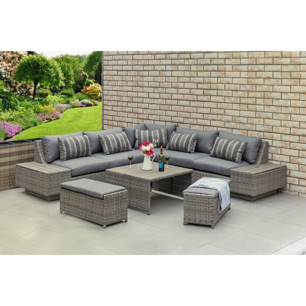Heracles Outdoor 8 Piece Rattan Sectional Set with Cushions by Brayden Studio