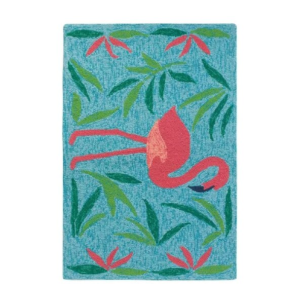 Fancy Flamingo Aqua/Pink Indoor/Outdoor Area Rug by CompanyC