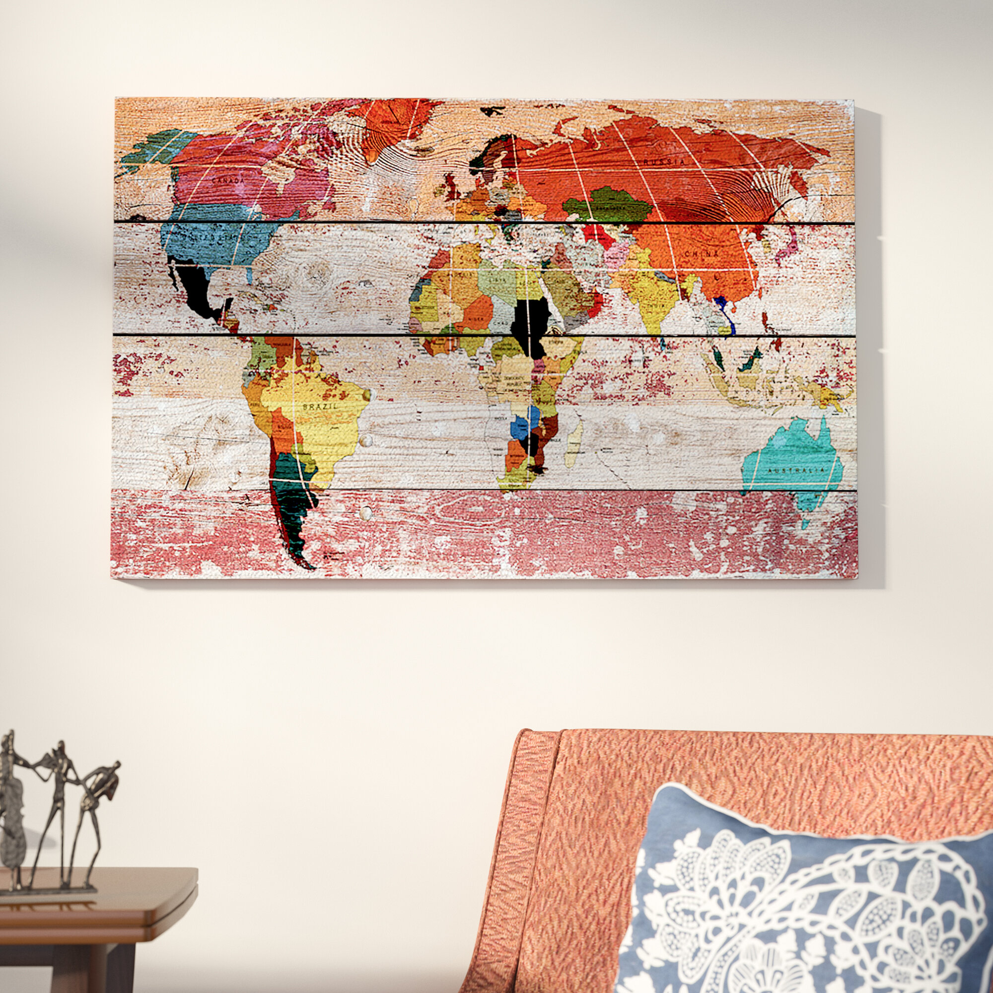 592fd368cd1 World Menagerie World Map Painting Print on Wrapped Canvas   Reviews ...