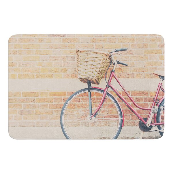 A Red Bicycle by Laura Evans Bath Mat by East Urban Home
