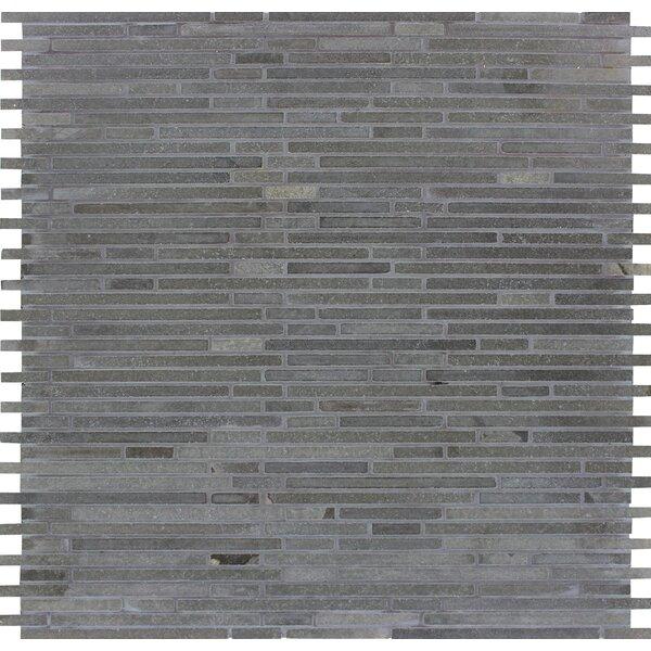 Bamboo Honed Basalt Mosaic Tile in Blue