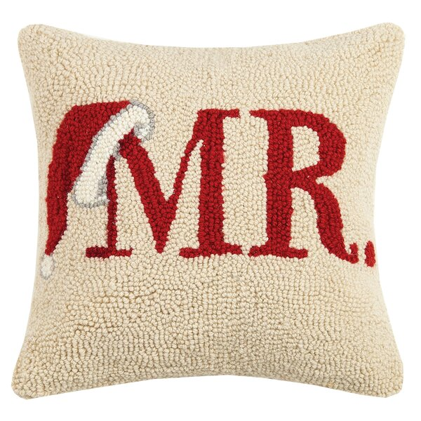 Mr Santa Hat Hook Wool Throw Pillow By Peking Handicraft.