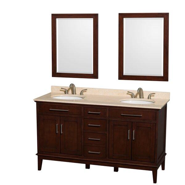 Hatton 60 Double Dark Chestnut Bathroom Vanity Set with Mirror by Wyndham Collection
