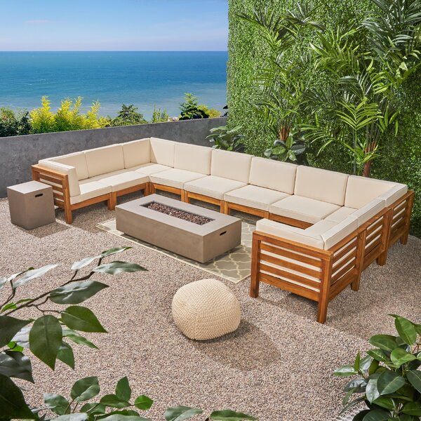 Galindo Outdoor 12 Piece Sectional Seating Group with Cushions by Rosecliff Heights