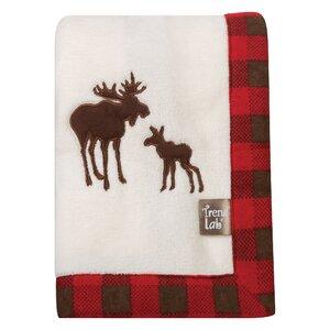 Northwood's Framed Fleece Receiving Blanket with Moose Applique