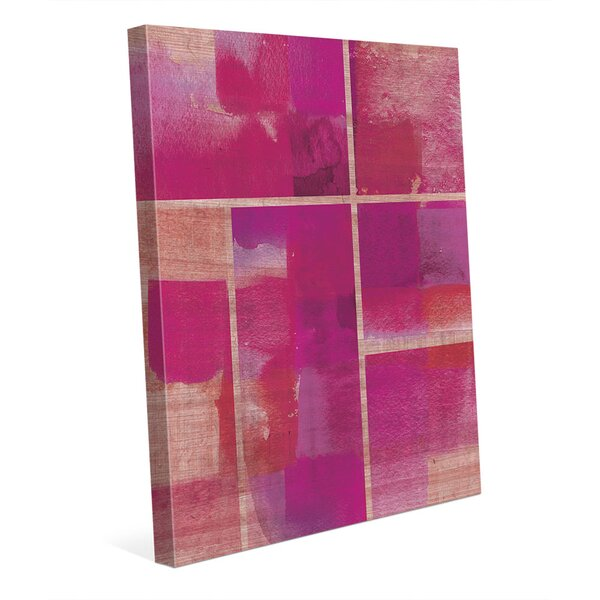 Monochrome Pink Tiles Painting Print on Wrapped Canvas by Click Wall Art