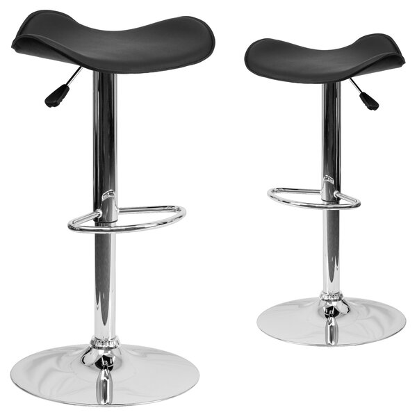 Tristan Adjustable Height Swivel Bar Stool (Set of 2) by Wrought Studio