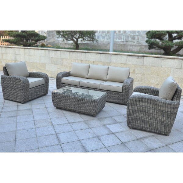Shondra 4 Piece Rattan Sofa Seating Group by Wrought Studio