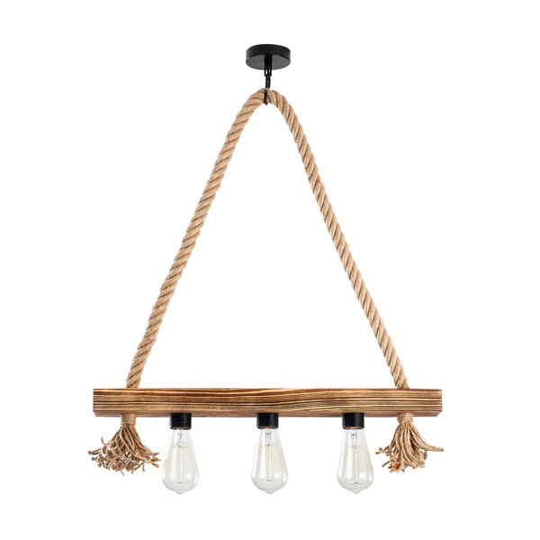 Claborn 3 - Light Unique Geometric Chandelier with Rope Accents by Breakwater Bay Breakwater Bay