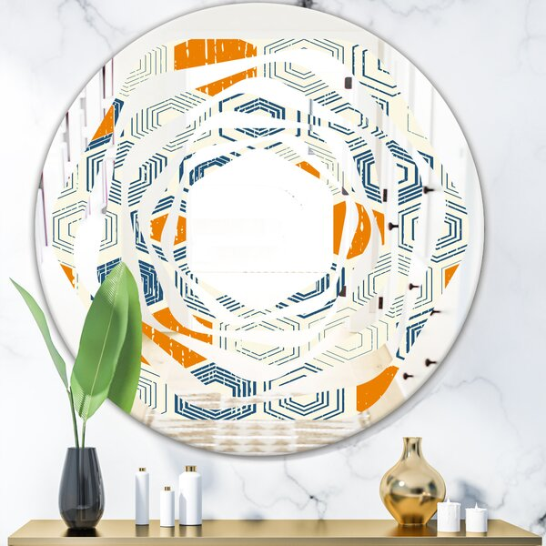 Whirl Hexagon Pattern Ix Modern Frameless Wall Mirror
