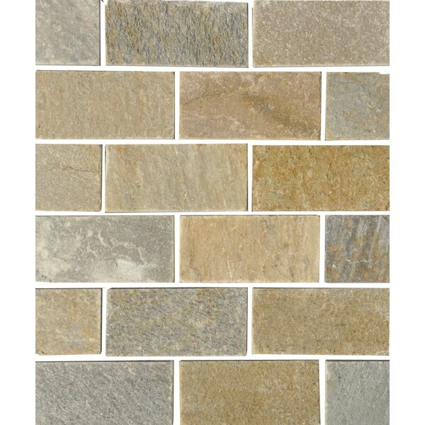 Century 2 x 4 Quartzite Stone Subway Tile in Natural by The Bella Collection