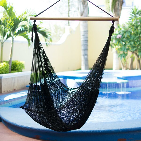 Single Person Relaxing Hand-Woven Mayan Artists of the Yucatan Nylon With Accessories Included Hammock Swing Chair by Novica Novica