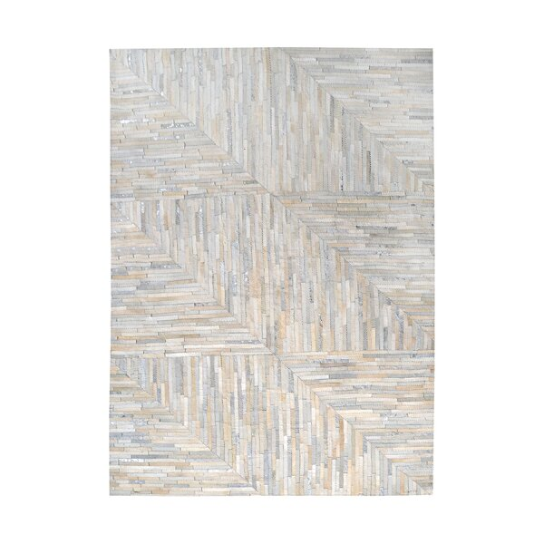Garrison Leather Patchwork Hand Stitched Pearl/Gray Area Rug by Trent Austin Design