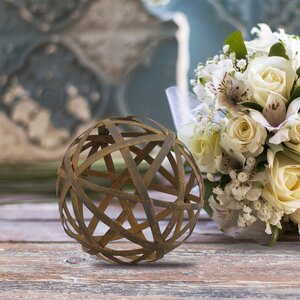 Rustic Metal Orb Filler Sculpture
