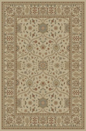 Jewel Voysey Ivory/Tonel Floral Area Rug by Threadbind