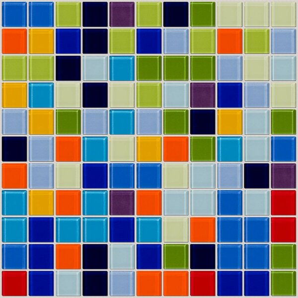 Signature Line Old Florida 1 x 1 Glass Mosaic Tile in Blue/Green by Susan Jablon