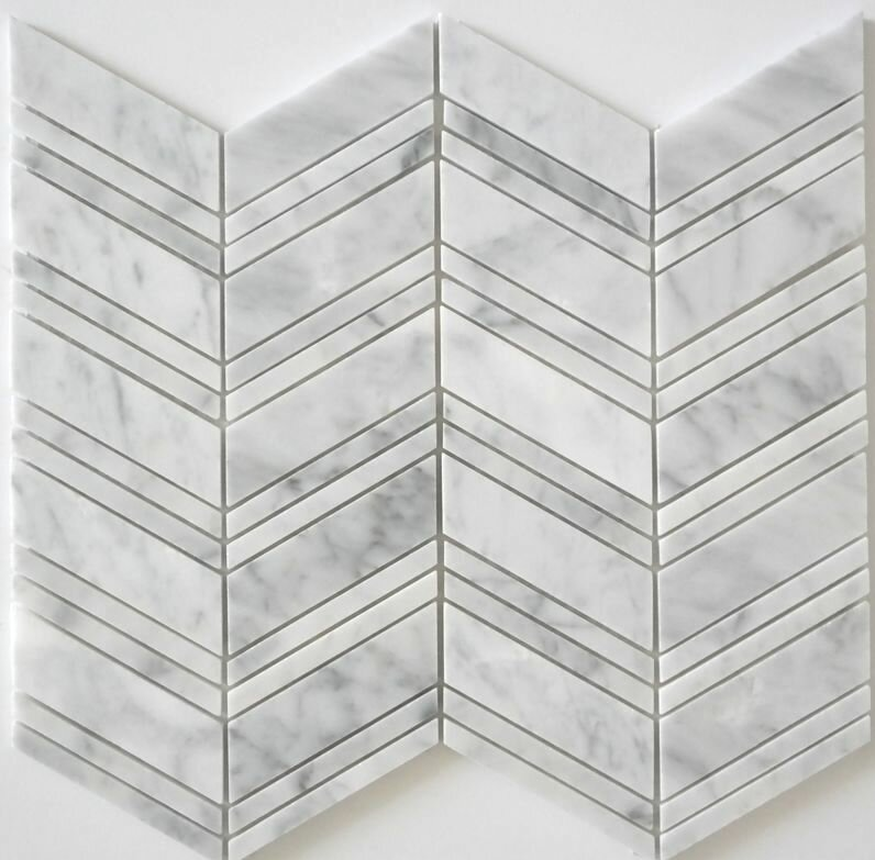 Random Sized Mosaic Tile in Bianco